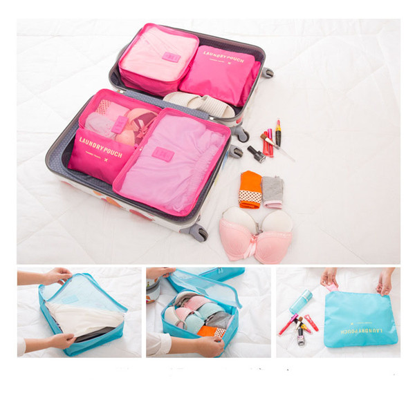 6pcs/set Fashion Underwear Socks Storage Bags Waterproof Polyester Men and Women Luggage Travel Bags Packing Cubes 8 Colors
