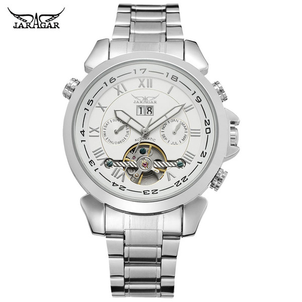 JARAGAR Men Mechanical Watches Brand Luxury Men's Automatic Stainless Steel Band Watches Hot Selling Auto Date Wristwatches
