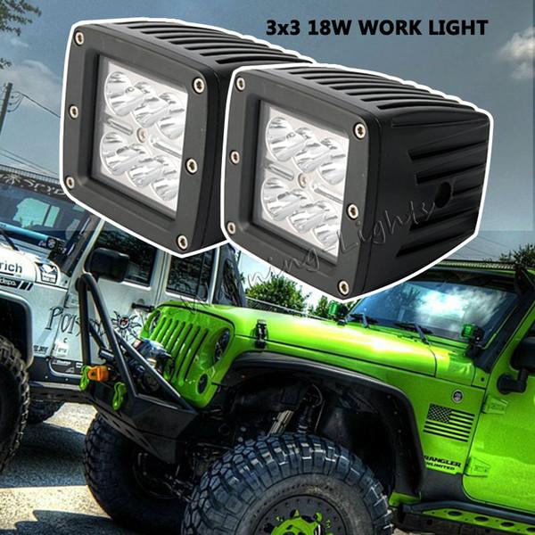2 pz 18 W cubo lampada da lavoro pod 4x4 powersports montaggio a filo led luce di lavoro fuoristrada Jeep Wrangler truck 4WD racing driving light