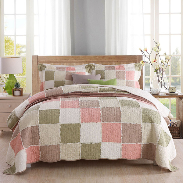 Qualität Tagesdecke Patchwork Quilt Set 3 stücke Bettdecke Gesteppte Baumwolle Bettdecken Bettbezüge Kissenbezug King Size bettwäsche Decke