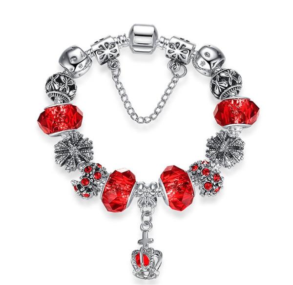 High quality Silver Blue Enamel Star and Moon Vintage Bangle Bracelet DIY Jewelry For Women Beads Bracelets