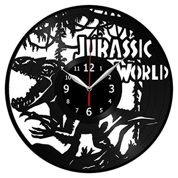 Acheter Monde De Dinosaure Vinyle Horloge Murale Simple Décor à La Maison Moderne Artisanat Créatif Cadeaux Faits à La Main Bureau Mur Art Décoration