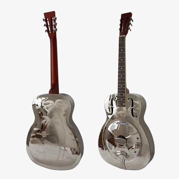 top popular Aiersi Hawaii Tree Palm Pattern O Style Brass Body Style Electric Resonator Guitar With Case and Strap 2020