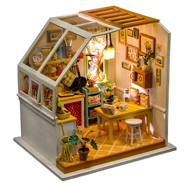 DIY Small Doll House Gourmet Kitchen Educational Assembled Model Without Dust Cover Assembled Small House Model Toys