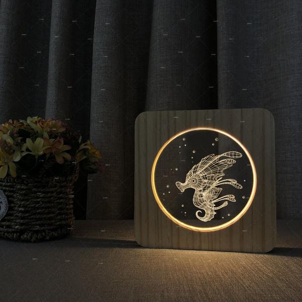 Hippocampus fantasy design wood warn white lighting table lamp modern for living room decor gifts for girls boys dropshipping