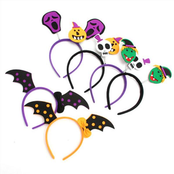 Halloween Handmade Baby Girl Headband Pumpkin Bat Black Crystal Photo Probs