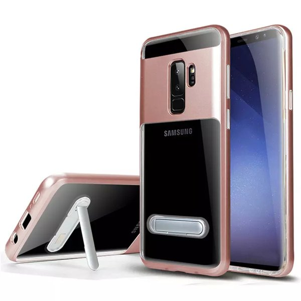 Hybrid Armor Clear Case For samsung galaxy S9 PLUS S9+ S8 PLUS S7 S6 Edge Plus Note 8 5 4 Stand Holder Bumper Transparent Cover Cases