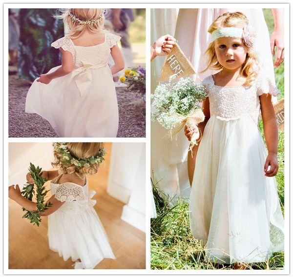 Luxury necklace lace chiffon flower girls custom made boho gown cupcake toddler little girls pageant dresses flower girls for weddings glitz
