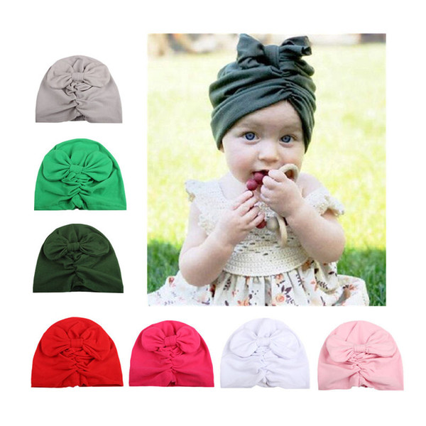 10 Colors Baby Crochet Bowknot Hats Cute Baby Girl Soft Knitting Hedging Caps with Big Bows Warm Tire Cotton Cap For Newborn Infant