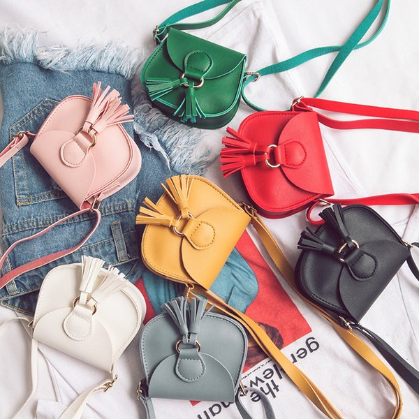 top popular 7 Color Girls INS tassels PU Bags 2018 New Children fashion Single shoulder aslant coin purse Bags wallet B001 2019