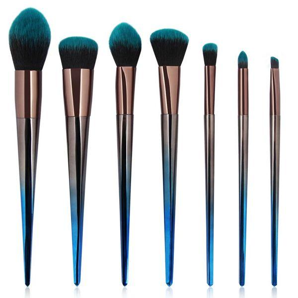 MAANGE 7pcs diamante pinceles de maquillaje belleza azul cepillo cosmético maquillaje herramientas belleza contorno corrector en polvo cepillo de la fundación