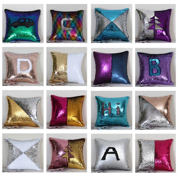 top popular Sequins Pillowcase reversible cushion cover decorative throw pillow case sofa seat car pillow cover fashion styles 45x45cm 2019