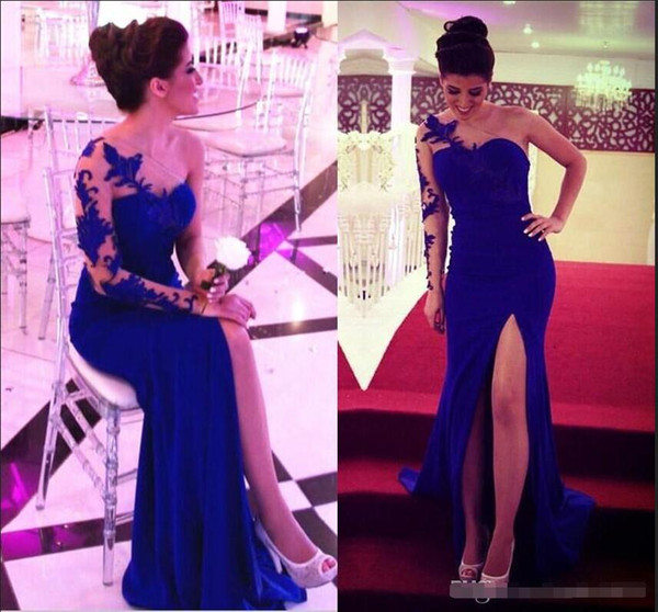 Royal Blue Formal Evening Dresses 2018 Lace Single One Long Sleeves Prom Gowns Split Front Chiffon Mother Of The Bride Dresses