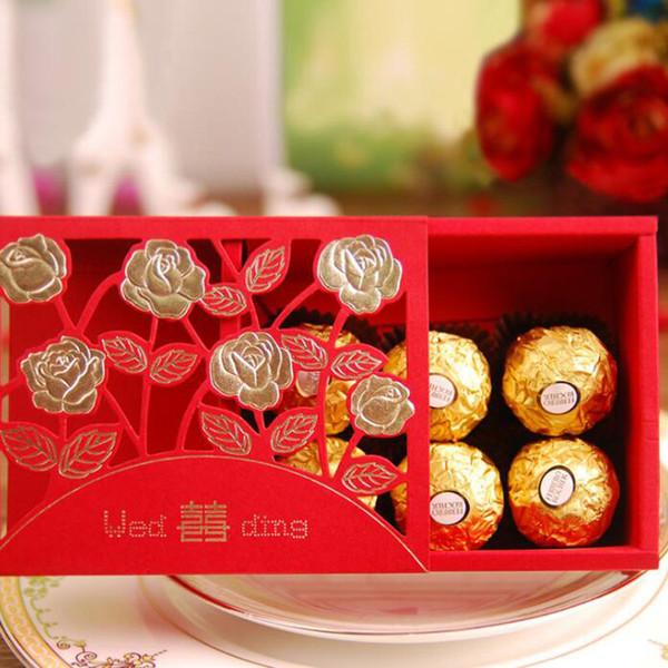Großhandel Chinesische Hochzeit Pralinenschachtel Rot Doppel Glück Papier Rose Blume Blossom Aushöhlen Schokolade Tasche Party Geschenk Dekor Za6313