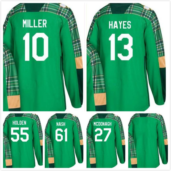 2018 Rangers St. Patrick's Day 10 J.T. Kevin Hayes 55 Nick Holden 61 Rick Nash 27 Ryan McDonagh Blank Hockey Jerseys