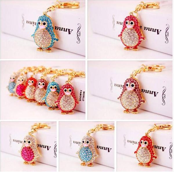 Cute Diamond Cartoon Turtle Goldfish Fish luxury design keychain animal women bag charm leather cute fashion key chains