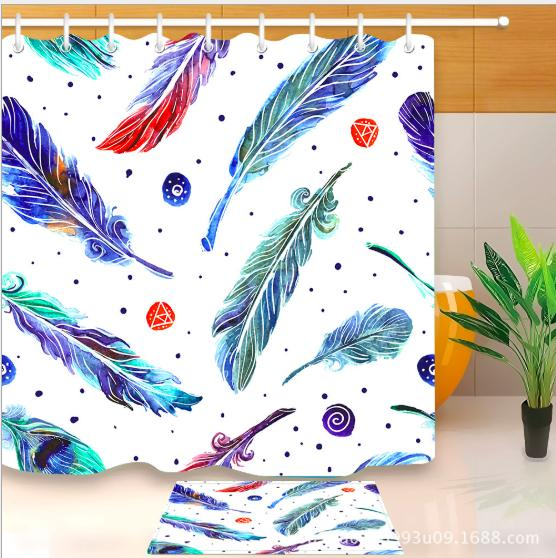 Multi-color feather 3D pattern Print Custom Waterproof Bathroom Modern Shower Curtain Polyester Fabric Bathroom Curtain Door mat sets