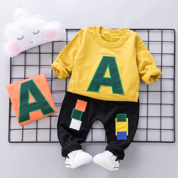 Boys Letters Spring Clothing Sets Kids Yellow Autumn Outfits Children Fashion Kids Casual Clothing Cute Infant Babies Loose Clothing Suits