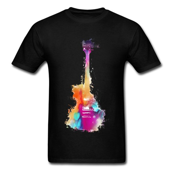 2018 Jeune Collège Colour Print T Shirt Art Design Guitare Dessin T-shirts Col Rond Slim Fit T Shirt Homme Pop Music Tshirt