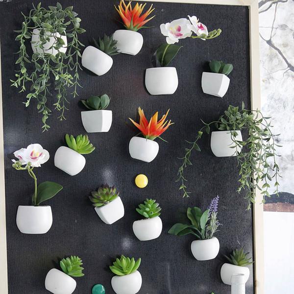 Simulierte Bouquet Blume Kühlschrank Aufkleber Sukkulente Kühlschrankmagnet Magnetische Topfpflanze Home Wand Dekoration OOA5858