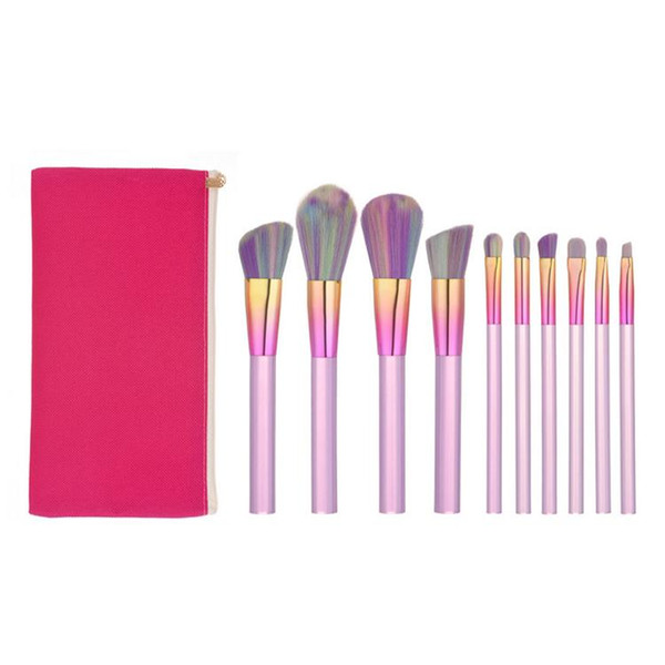Factory Direct DHL Free! Top Quality New Design 10pcs Makeup Brush Set Acrylic Transparent Handle Makeup Brushes Kits with Bag