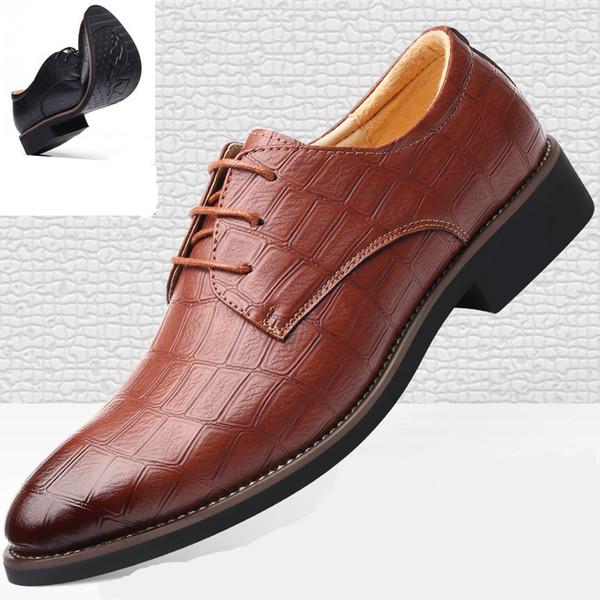 Роскошная мужская обувь Повседневная кожа Модные черные синие коричневые плоские туфли для мужчин Drop Business dress casual