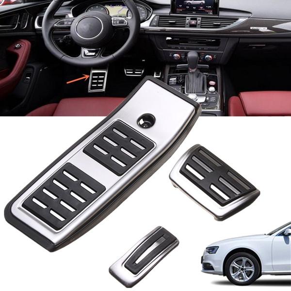 For Audi A4 B9 Sedan Avant 2016-2017 Aluminium Alloy& Non-Slip Rubber Accelerator Brake Footrest Pedals Car Styling