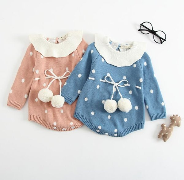 4559b7645df2 2018 Autumn Winter Infant Baby Girls Knitted Rompers Kids DotsToddlers  Onesies Jumpers Sweater Children Girl Knitwear Rompers 13429