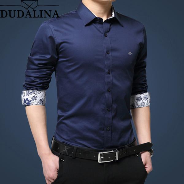 zhenhuang / Camisa Dudalina Homens 2018 Manga Longa Camisa Masculina 100% Algodão Casual de Alta Qualidade Homem de Negócios Camisas Slim Fit Designer Vestido