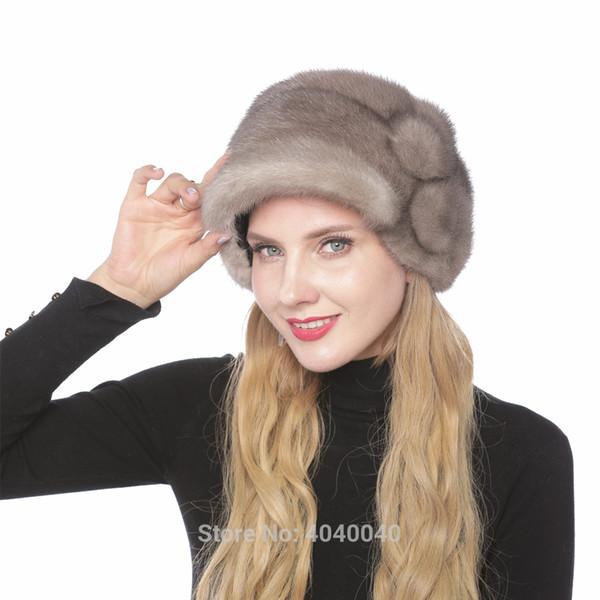 Bravalucia Fashionable Mink Women Winter Hat with Flower Real Fur Cap for Girls Bomber Ear Flap Outdoor Hats Women Beanie Russia