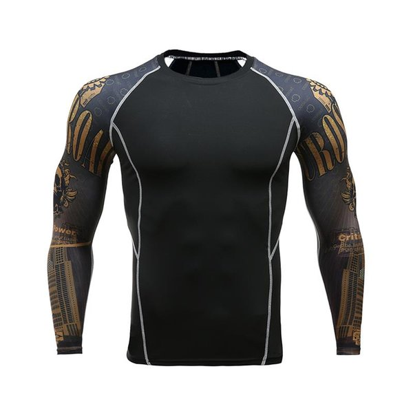 2018 Men's Compression Shirt 3D Prints Long Sleeve T Shirt Men Raglan sleeve Fitness Lycra MMA Crossfit T-Shirts Brand Clothing