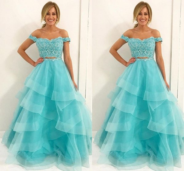 2019 Off The Shoulder 2 Piece Prom Dresses 8th Grade With Ruffles Lace Applique Beaded Sequins Evening Gowns Formal Quinceanera Dress Custom