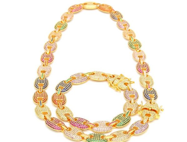 hot sale silver gold color hiphop new Color zircon pig nose chain coffee bean chain bracelet necklace real gold plating high-end jewelry