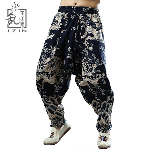 LZJN India Nepal Loose Cross Pants Men Elastic Waist Hip Hop Joggers Chinese Dragon Harem Pants Cotton Flax Ethnic Long Trousers