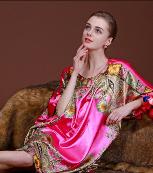 Elegant Anti real silk Lenient loose Nightdress Women Summer Bathrobe soft Bath Robe Bathrobe Home clothing Sleepwear Nightgowns,Plus size