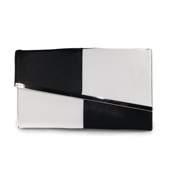 Fight Color PU Leather Summer Women's Clutch Bags Chain Black and White Large Capacity Envelope Bag Women Party Evening Bag Sale