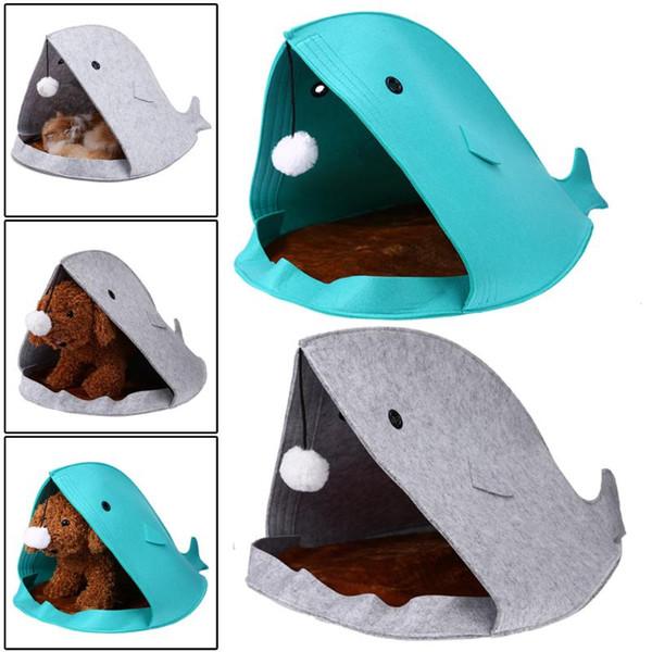 2017 Yeni Köpekbalığı Şekli Köpek Yatakları Sıcak Yumuşak Köpek Evi Pet Uyku Tulumu Köpek Köpek Kulübesi Yatakları Kedi Doggy House Nest Mat Pet Ürünleri