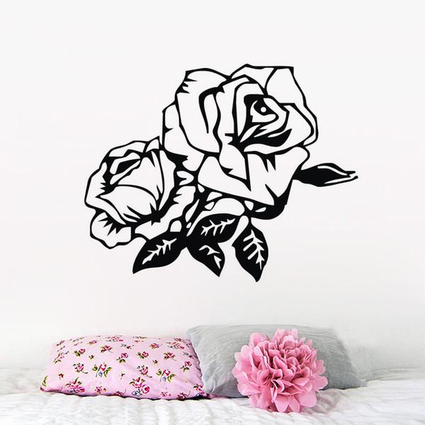 Acquista Bellissime Rose Wall Stickers Camera Da Letto Decorazione  Smontabile Della Parete Del Vinile Decalcomanie Fiori Pianta Home Decor A  $6.79 Dal ...