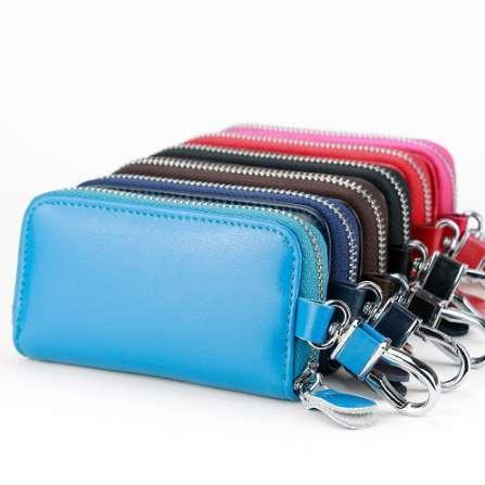 Top Grade Zipper Key Holder Card Holder inside Zipper Car key Bag Multifunction Hook Case Multicolor Soft Leather Key Wallet