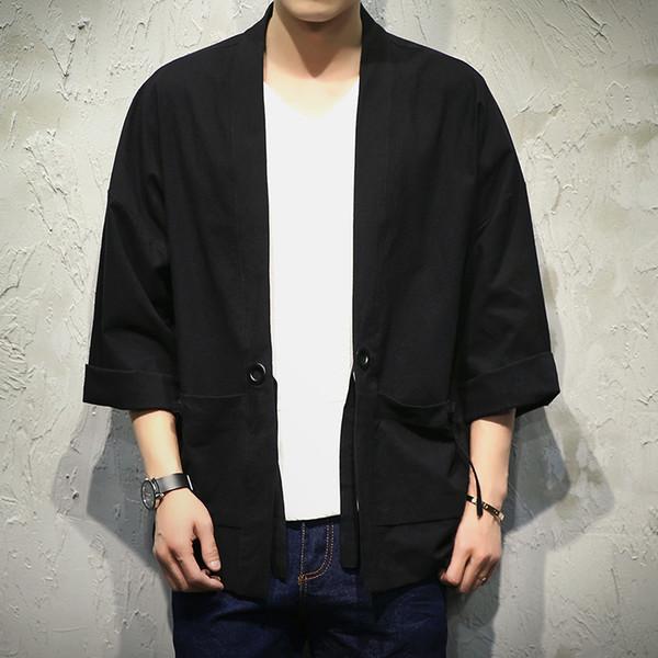 Japão Estilo Kimono Jacket Men 100% CottonLinen Solta Mens Jaquetas Plus Size 3/4 Manga Aberta Ponto Casual Casaco Masculino blusão