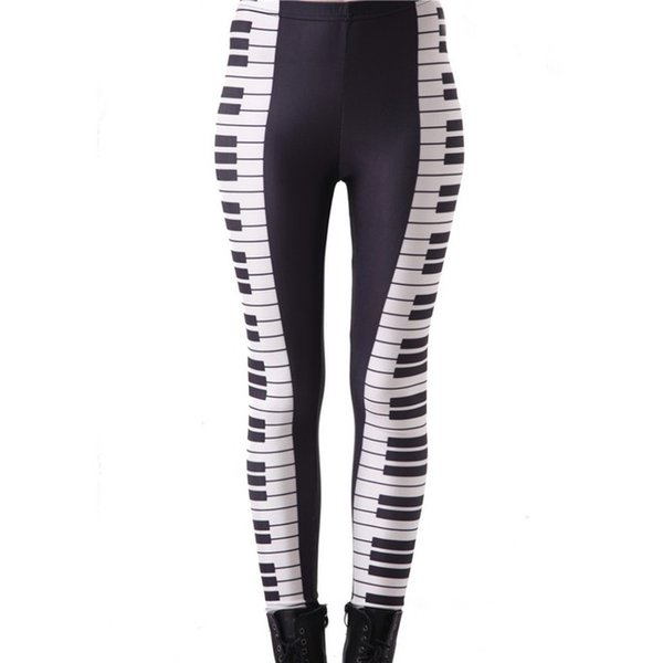 Digital PrintingElastic Casual Pants The black and white keys Pattern Women Leggings 7 sizes Fitness Clothing Free Shipping