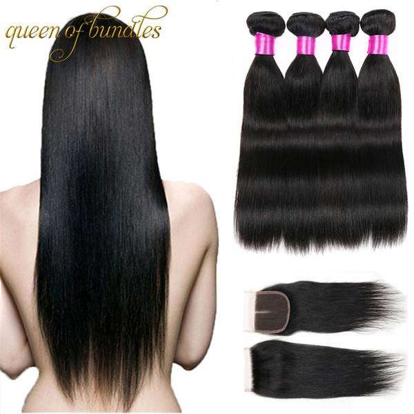 Capelli vergini brasiliani diritti con chiusura 4 pacchi con chiusura colore naturale 8a grado 100% non trasformati tessuto dei capelli umani