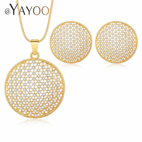 Conjuntos de joyería de diseño para las mujeres Color de oro Beads africanos Conjunto de joyas Pendientes y collar de cuentas de joyería de Dubai