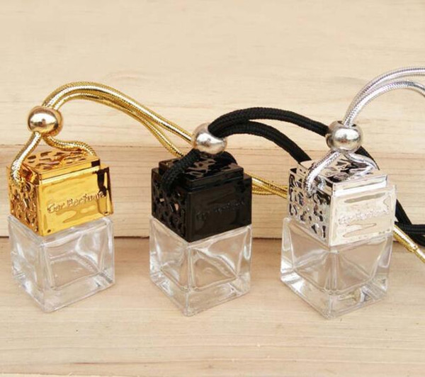 top popular DHL Car Cube perfume bottle Car Hanging Perfume Rearview Ornament Air Freshener For Essential Oils Diffuser NN Empty Glass Bottle 7ML 2019