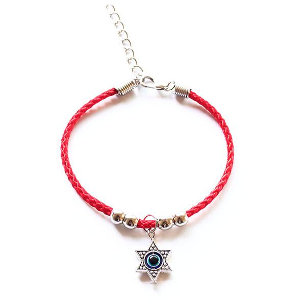 Fashion Star Of David Charm Red String Thread Rope Pentagram Bracelet For Women Girls Cross Hamsa Evil Eye Anchor Hand Jewelry