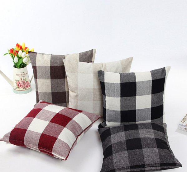 Classic 9 Styles Plaid Pillow Case Linen Cotton Blend Pillowcases for Living Room Cushion Covers for Sofa Bed EMS FREE