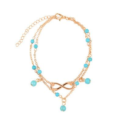 Boho Beach Turquoises Anklets for Women Love Silver color Tassel Foot Chain Jewelry Barefoot Sandals Ankle Bracelets Gift ZW-004