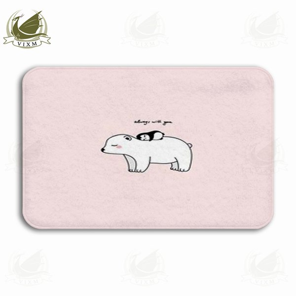 Vixm A Little Penguin Pink Background Polar Bear Art Poster Welcome Door Mat Rugs Flannel Anti-slip Entrance Indoor Kitchen Bath Carpet