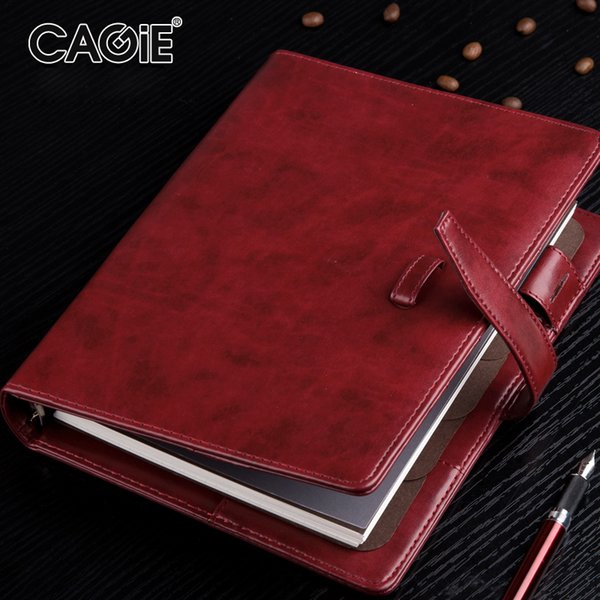 CAGIE Business A5 Spiral NotFilofax Vintage Binder Office Paper Organizer Notepad Planner Creative Leather Notebook