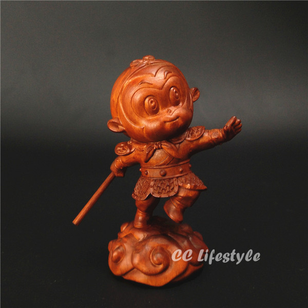 Wood statue monkey King Sun wukong Journey to the west China gift carved creative decor Figurine home decoration Miniature sale